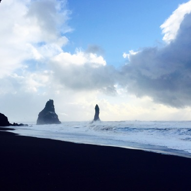 Black sand beach on the south coast.